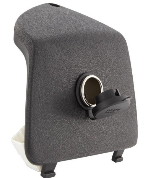 Glovebox door trim left with 12V universal power plug for Vespa GTS/GTS Super/GTV/GT, black
