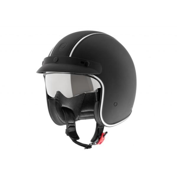 Helmo Milano open face helmet, Audace Siverstone, black matt