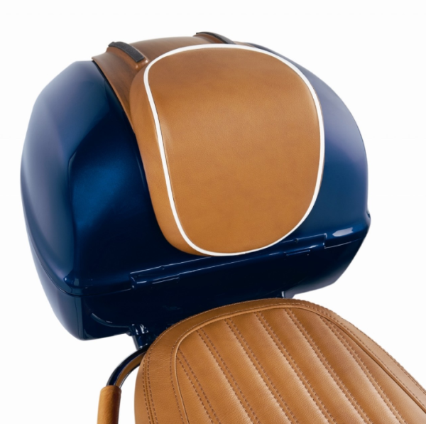 "Original top box backrest ""Luxury Edition"" Vespa Primavera / Sprint, genuine leather brown with white piping"