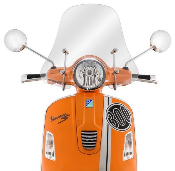 Wind shield Sportivo for Vespa GTS/GTS Super/GT/GT L 125-300ccm, medium-sized, transparent