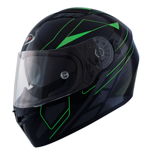 Shiro Integral Helmet, SH600, Elite, balck matt/green