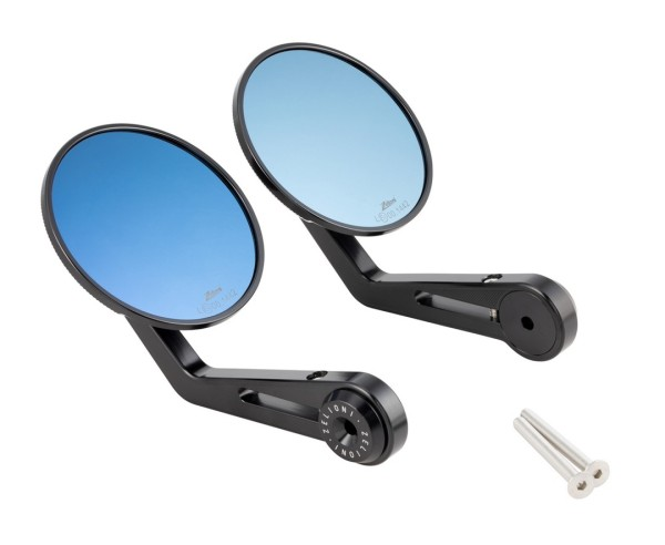 Handlebar end mirror ZELIONI for Vespa, black anodised, left and right