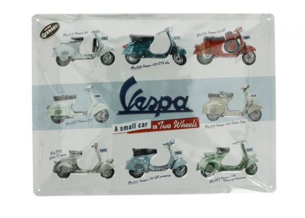 Vespa metal plate Vespa model chart