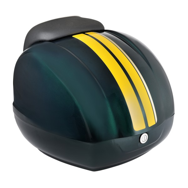 Decorative stripes (yellow) for Vespa GTS Racing Sixties topcase green, metallized green 349 / A, 37 l