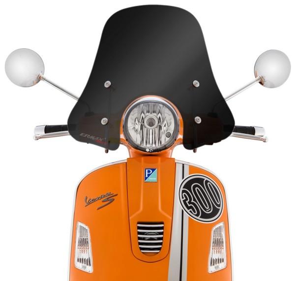 Wind shield Sportivo for Vespa GTS/GTS Super/GT/GT L 125-300ccm, medium-sized, black toned