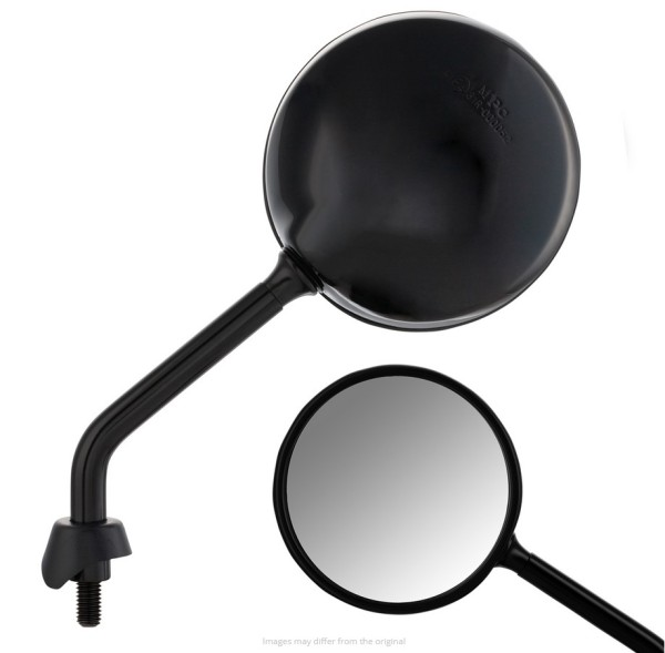 Mirror Shorty for Vespa, black shiny, right and left