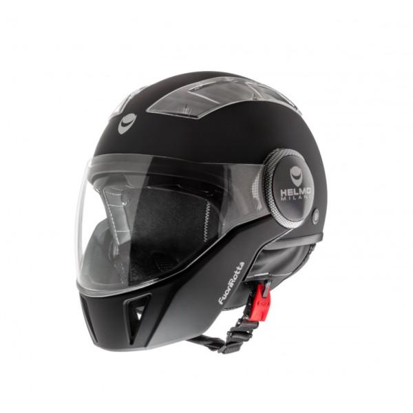 Helmo Milano Full Open Face Helmet, FuoriRotta, black, matt