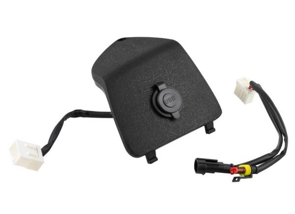 Glovebox door trim left with USB connection for Vespa GTS/GTS Super/GTV/GT, black