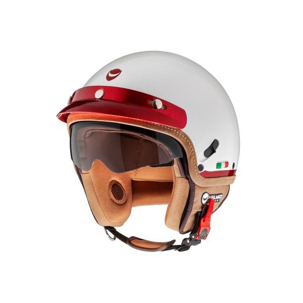 Helmo Milano open face helmet, FuoriPorta, white, red
