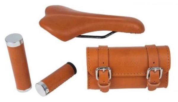 "Leder set ""Style"" handgrips/ saddle/ under-saddle bag for WI-BIKE Original Piaggio"