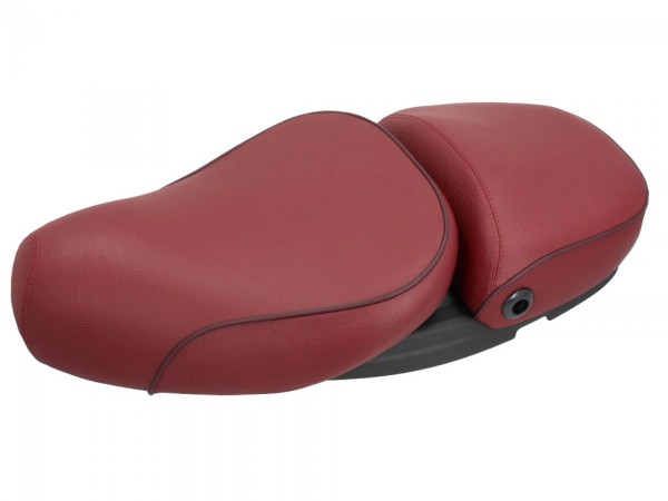 Vespa 2-seater real leather seat red for LX 50-150cc Touring, ET2 / ET4 / LX / LXV / S 50-150cc-