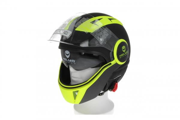 Helmo Milano Full Jet Helmet, FuoriRotta Premium, matt black, yellow fluo