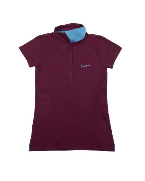 """Vespa Polo Shirt """"Vespa Logo"""" woman bordeaux"""