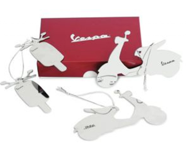 Vespa Christmas tree decorations, white