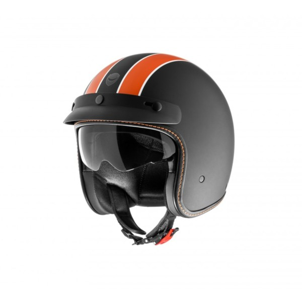Helmo Milano open face helmet, Audace Daytona, black matt, orange, matt